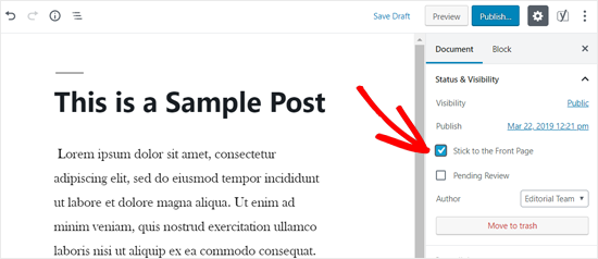 Stick to the Front Page Option in WordPress
